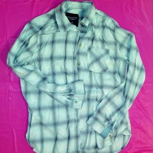 American Eagle Outfitters Light Blue Plaid Shirt